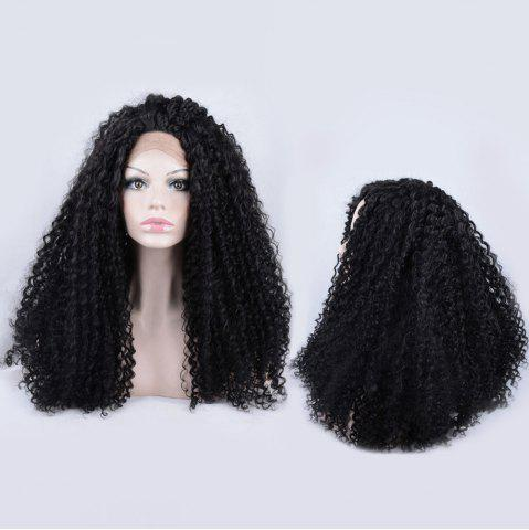 Affordable Long Shaggy Kinky Curly Lace Front Synthetic Wig - BLACK  Mobile