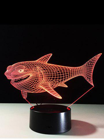 3D Visual 7 Color Change LED Shark Touch Switch Night Light - Colorful