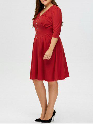 Best Plus Size Vintage V Neck Button Design Dress - 2XL RED Mobile