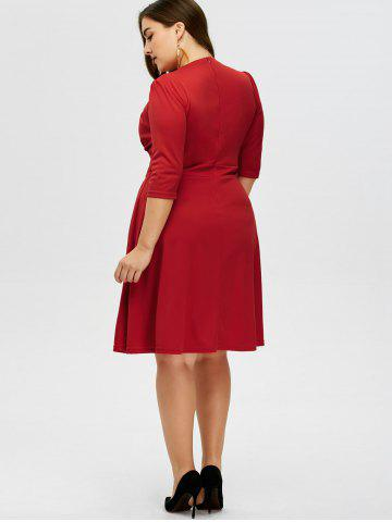Chic Plus Size Vintage V Neck Button Design Dress - 2XL RED Mobile