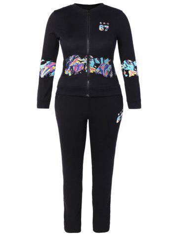 Outfit Printed Jacket and Pocket Design Pants Twinset BLACK 3XL