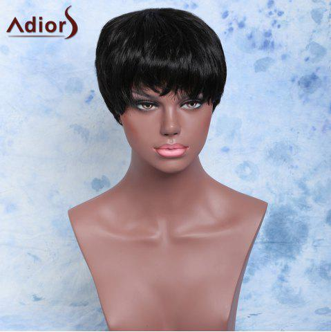 Unique Short Straight Full Bang Handsome Capless Synthetic Wig BLACK