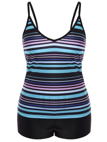 Trendy Plus Size Stripe Moulded Tankini Set