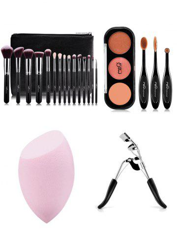Outfit 15 pcs Makeup Brushes Kit + Eyeshadow Kit + Eyelash Curler + Makeup Sponge