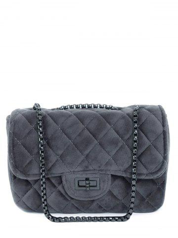 Chains Quilted Velour Crossbody Bag - Gray