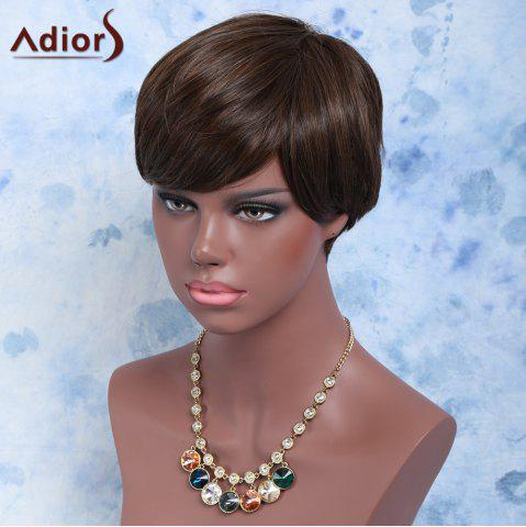 Affordable Handsome Short Full Bang Straight Synthetic Wig BROWN