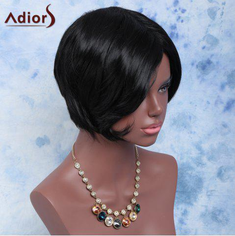 New Towheaded Short Side Bang Straight Synthetic Wig BLACK
