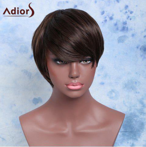 Manly Double Color Short Side Bang Straight Synthetic Wig - BLACK/BROWN