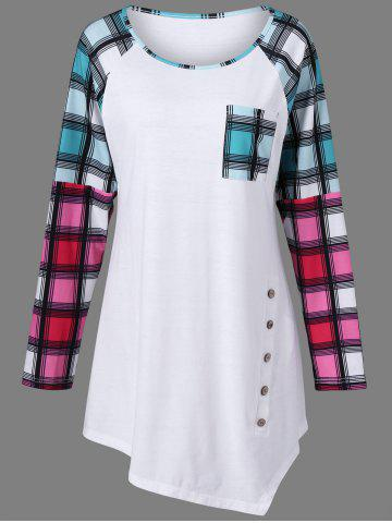 Buy Raglan Sleeve Plaid Plus Size Tee WHITE 5XL