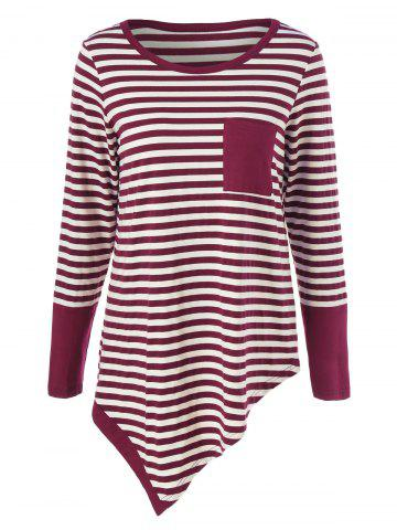 Shops Single Pocket Striped Asymmetrical T-Shirt