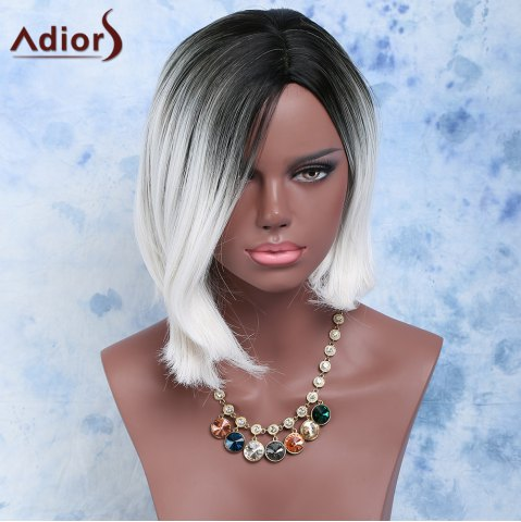 Online Black Mixed White Side Parting Short Straight Women's Fashion Synthetic Hair Wig