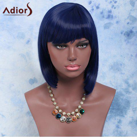 Affordable Medium Straight Full Bang Purplish Blue Fashion Women's Synthetic Hair Wig