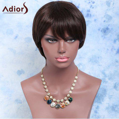 Fashion Short Side Bang Straight Synthetic Wig BLACK