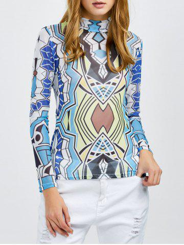 Latest High Neck Sheer Printed Mesh Top COLORMIX XL