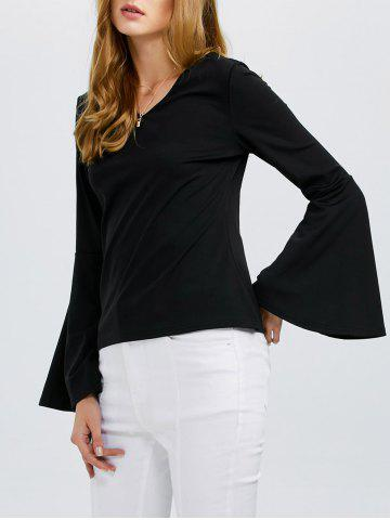 Cheap Flare Sleeves V Neck T-Shirt