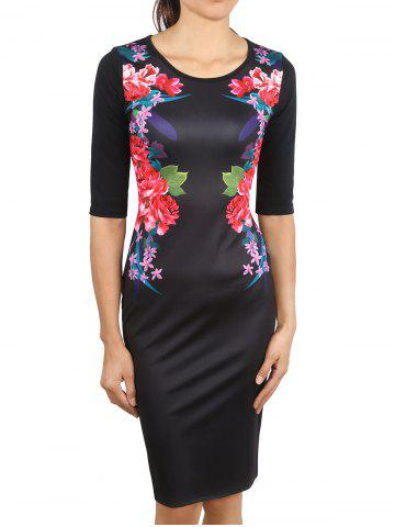 Chic Floral Printed Knee Length Dress