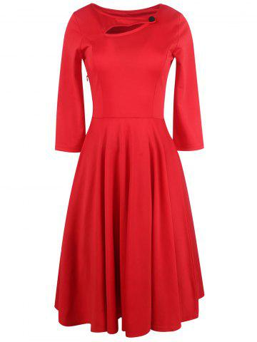 Store Long Sleeve Keyhole Full Dress RED 2XL