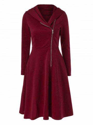 Fancy Side Zip Hooded Dress DARK RED M
