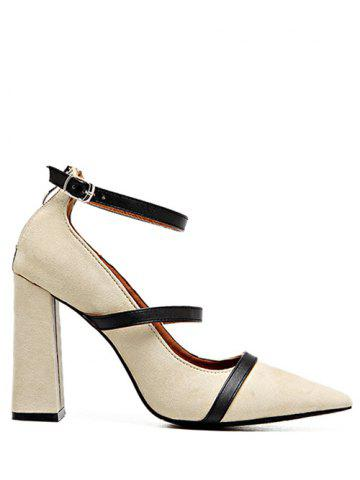 Buy Chunky Heel Strappy Zipper Pumps - Light Khaki 38
