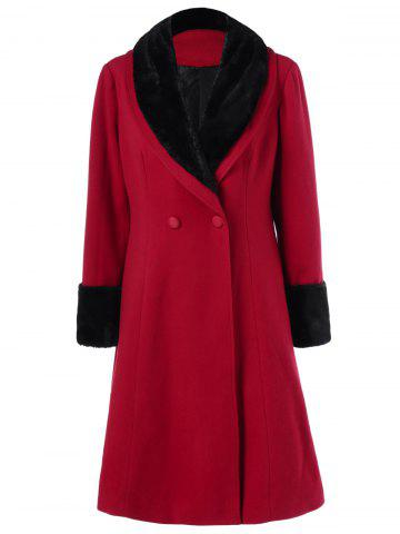 Chic Plus Size Shawl Collar Two Tone Coat