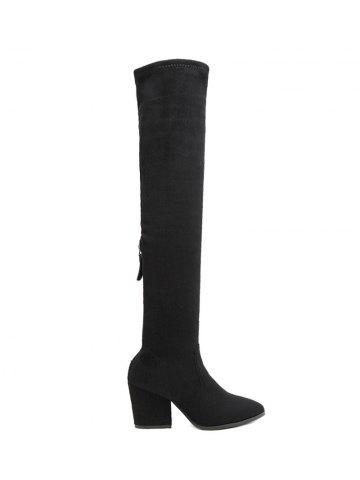 Shops Zip Chunky Heel Pointed Toe Thigh Boots