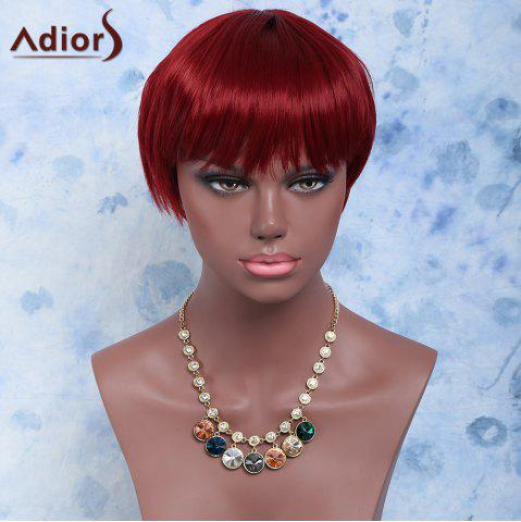 Chic Short Straight Full Bang Capless Synthetic Wig