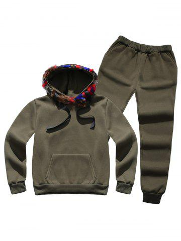 Hot Faux Fur Pocket Hoodie with Track Pants ARMY GREEN L