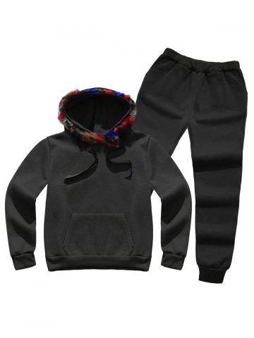 Trendy Faux Fur Pocket Hoodie with Track Pants - L BLACK Mobile