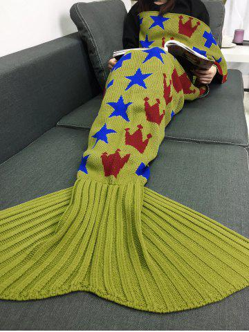 Outfits Stars Crown Pattern Home Decor Knitted Mermaid Blanket Throw ZINC YELLOW