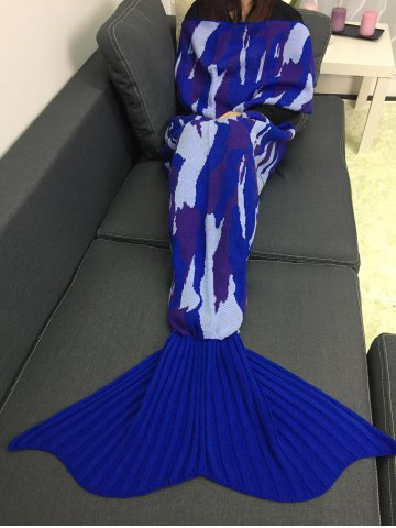 Outfit Home Decor Knitted Camouflage Mermaid Blanket Throw BLUE