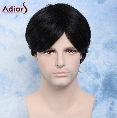 Best Handsome Straight Synthetic Short Side Bang Men's Wig - BLACK  Mobile