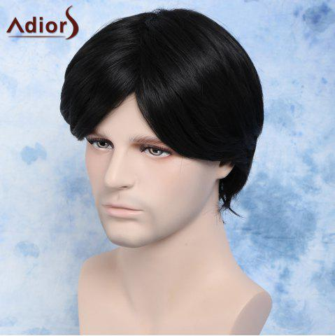 Outfit Handsome Straight Synthetic Short Side Bang Men's Wig - BLACK  Mobile