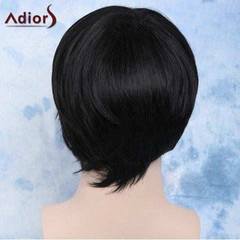 Online Handsome Straight Synthetic Short Side Bang Men's Wig - BLACK  Mobile