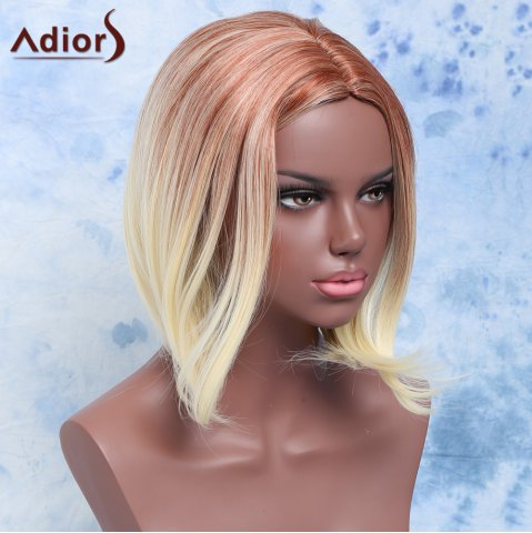 Fashion Fashion Short Straight Mixed Color Centre Parting Women's Synthetic Hair Wig COLORMIX