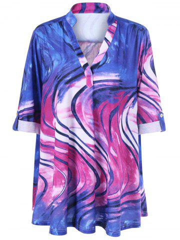 Blouse à col V en tie and dye à grande taille Multicolore 5XL
