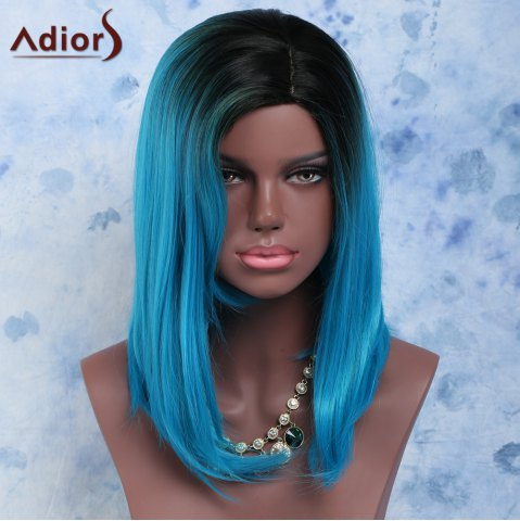 Cheap Black Mixed Blue Side Bang Medium Straight Women's Impressive Synthetic Hair Wig