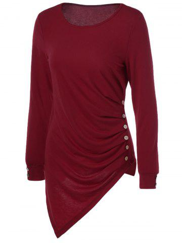 Outfits Asymmetrical Long Sleeve Tee WINE RED XL