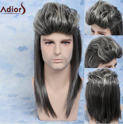 Affordable Men Mullet Hairstyle Long Ombre Color Cosplay Synthetic Wig