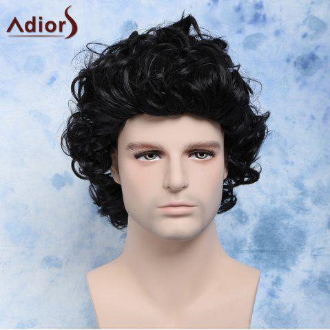 Buy Men's Short Curly Cosplay Synthetic Wig BLACK