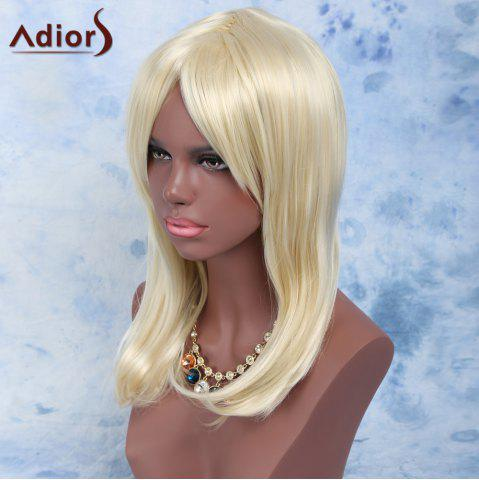 Buy Long Oblique Bang Straight High Temperature Fiber Wig LIGHT GOLD