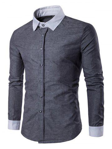 Outfit Contrast Collar Back Pleat Button Down Shirt - L GRAY Mobile