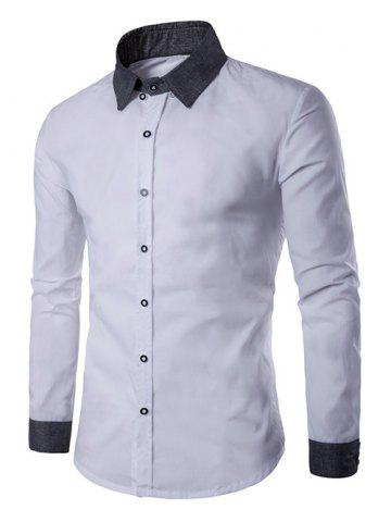 Hot Contrast Collar Back Pleat Button Down Shirt - L WHITE Mobile