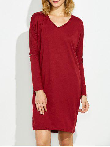 Outfits V  Neck Cutout Dolman Sleeve Tee Dress