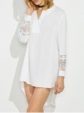 Outfits Lace Crochet High Low Dress WHITE XL