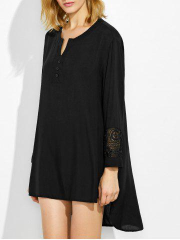 Lace Crochet High Low Dress - Black - S