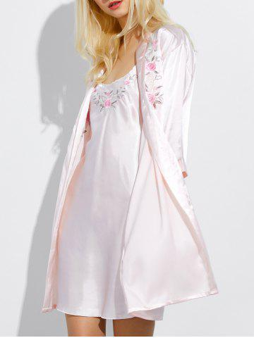 Shops Cami Embroidered Babydoll and Fitting Wrap Robe PEARL PINK XL