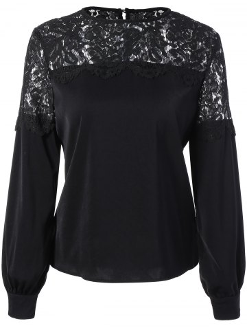 Store Lace Panel Long Sleeve Blouse