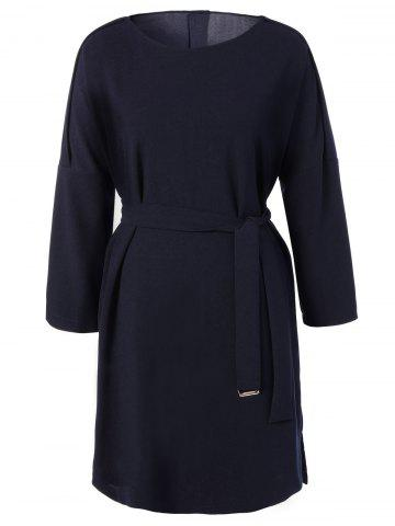 Outfits Plus Size Belted Slit Dress - 4XL CADETBLUE Mobile