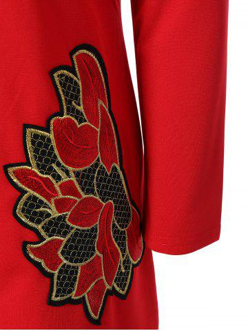 Latest Plus Size Embroidered Long Sleeve Dress - 4XL RED Mobile