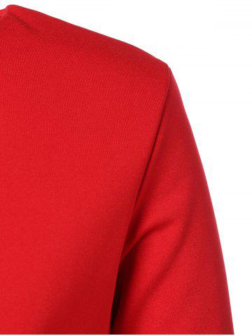 Latest Plus Size Embroidered Long Sleeve Dress - 3XL RED Mobile